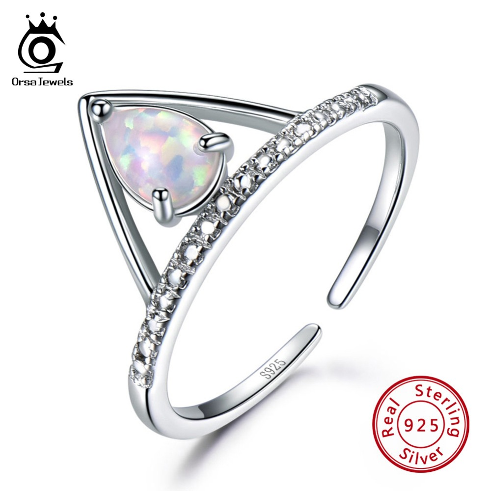 ORSA JEWELS 100% 925 Sterling Silver Women Rings Triangle Shape Adjustable Colorful Opal Ring Female Fine Jewelry Gift VSR12