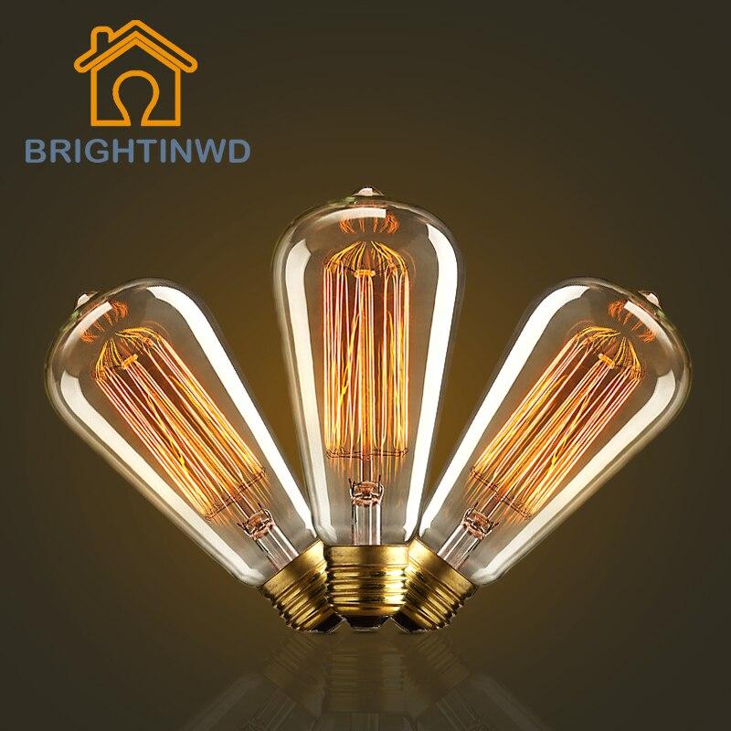 Cordless Edison Bulb Lamp: BRIGHTINWD E27 40W Edison Light Bulb Retro Lamp Vintage