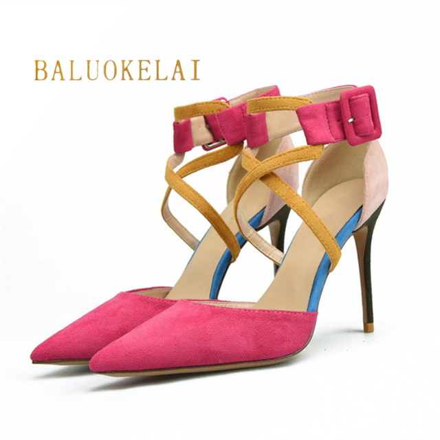 f48c0c56f87b Women s High Heels Flock Sandals Woman 10CM Cross Straps Shoes Peach Red  Party Wedding Women High Heel Sandals