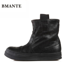 Известный бренд, модные повседневные Черные Высокие расклешённые обувь для хип-хопа, Коровья замша настоящая кожа, низкие ботинки на плоской подошве, Джастин Бибер сапоги