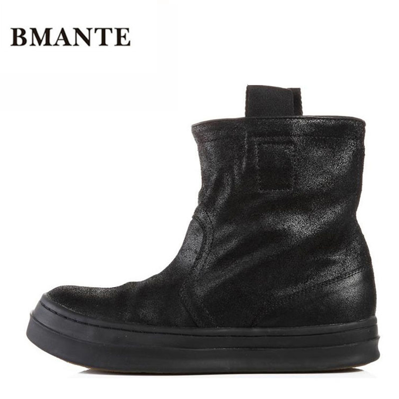 Célèbre marque décontracté noir haut haut large veau haut chaussures en daim de vache en cuir véritable bas chaussure plat Justin Bieber botte