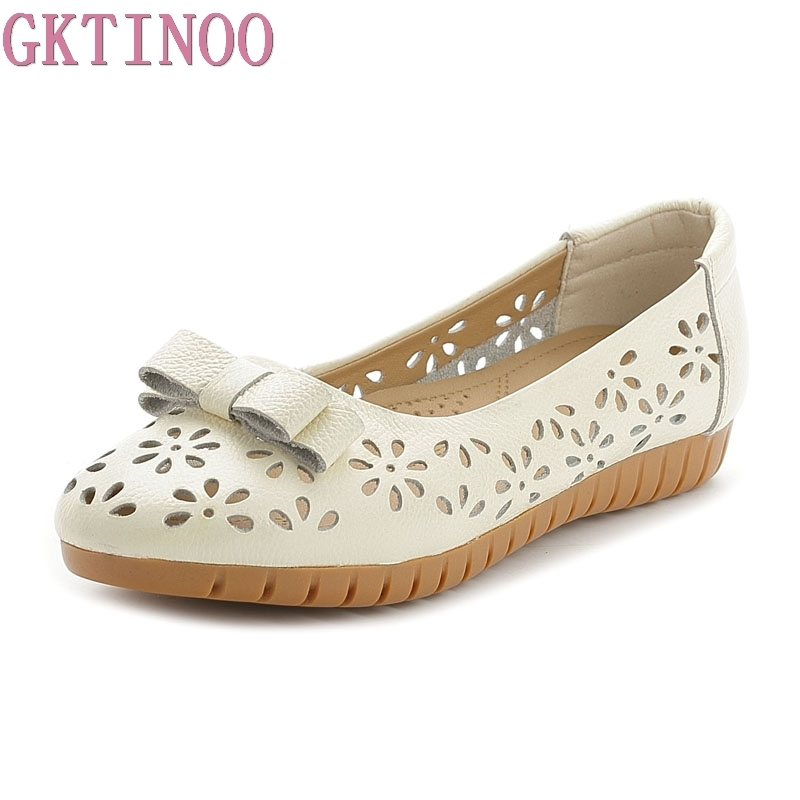 GKTINOO Summer Genuine Leather Ladies Flats Shoes Hollow Butterfly-knot Women Sandals Soft Comfortable Casual Women Shoes summer sandals women hook loop flat sandals mother butterfly knot soft genuine leather shoes ladies beach shoes zapatos mujer