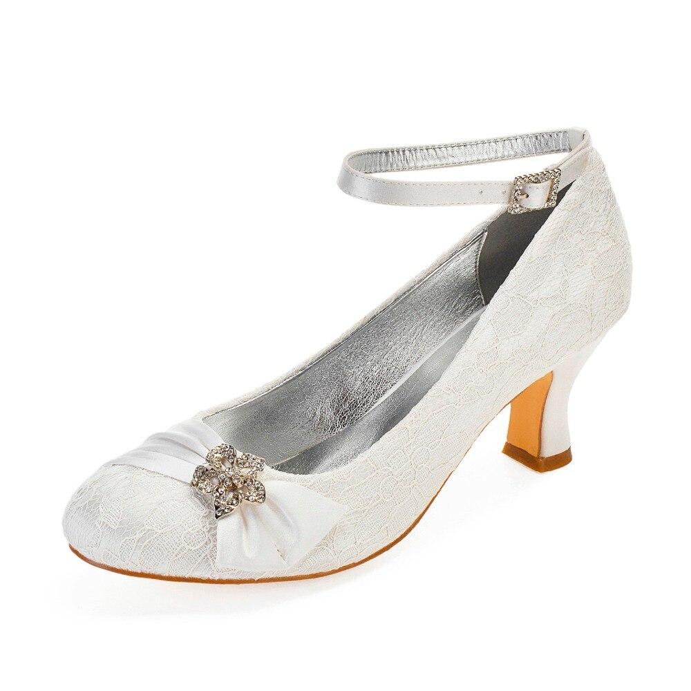 Ivory lace block heels