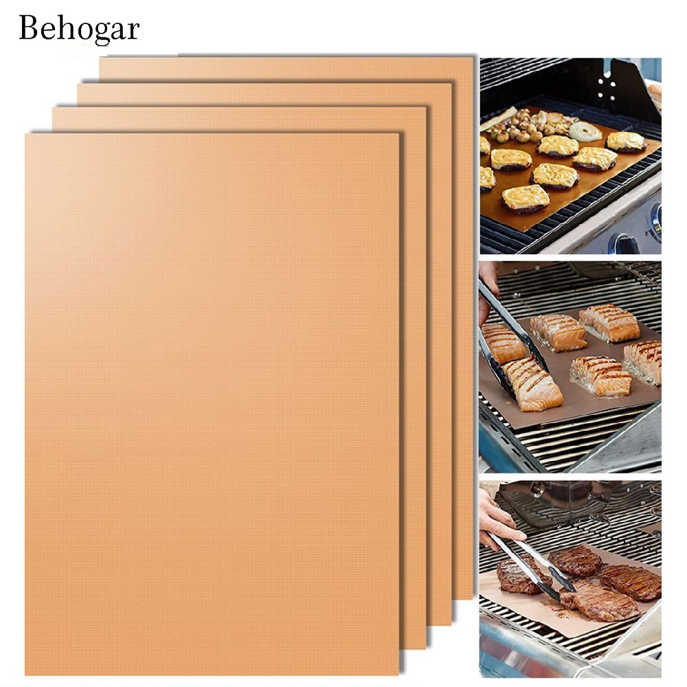 Behogar 5pcs/Set Copper Chef Grill Mat Non-stick Reusable Easy to Clean BBQ Grill & Baking Mats Barbecue Pads w/ Silicone Brush