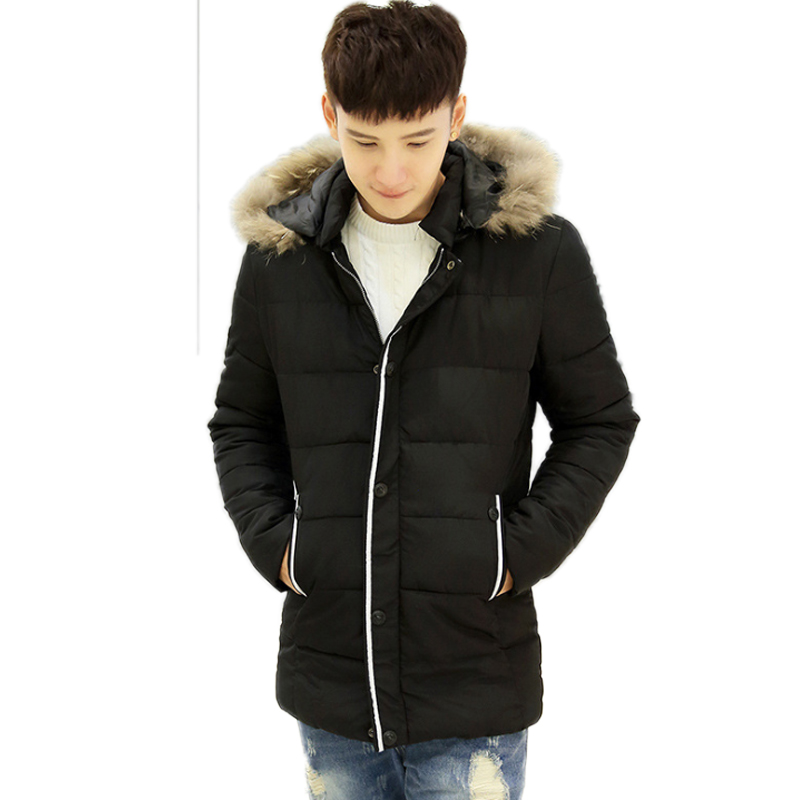 new 2016 Fashion Winter Jacket Men Casual Loose Hooded Artificial Wool Collar cotton Thick Coat invierno
