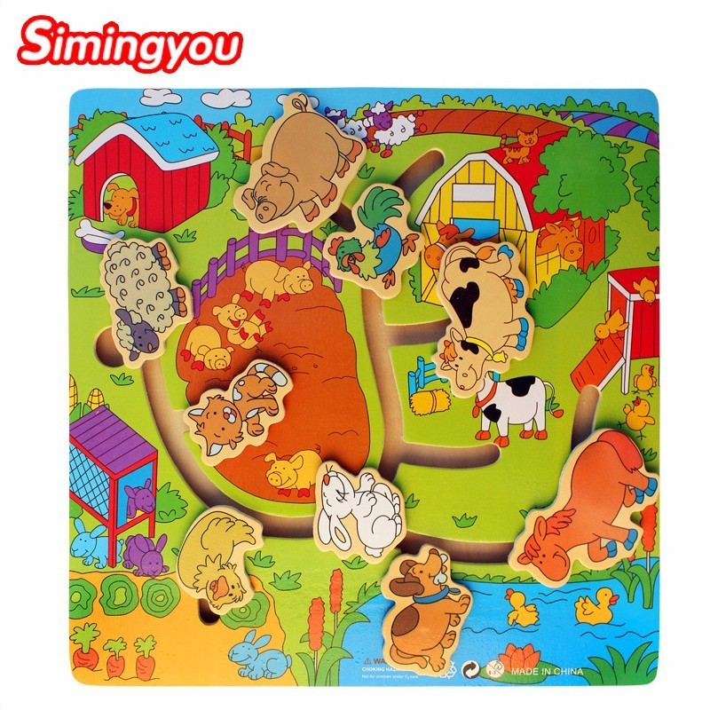 Simingyou Baby Wooden 3D Puzzle Farm Animal Maze Child Wooden Toys Maze Farm Grab Educational Maze Toys C20 Drop Shipping animal farm