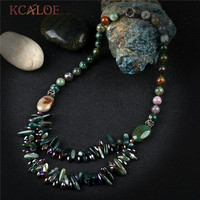 965fce35ef8b KCALOE Indian Onyx Choker Necklace Handmade Beaded Green Natural Stone  Crystal Layered Necklaces Pendants For Women