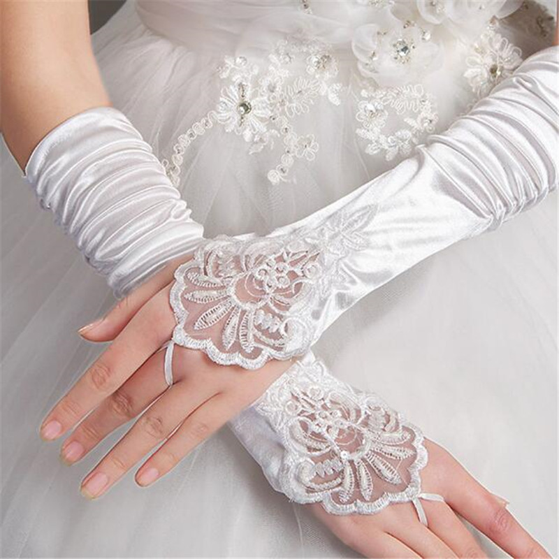 Bride Wedding Rhinestone Short Gloves Lace Fingerless