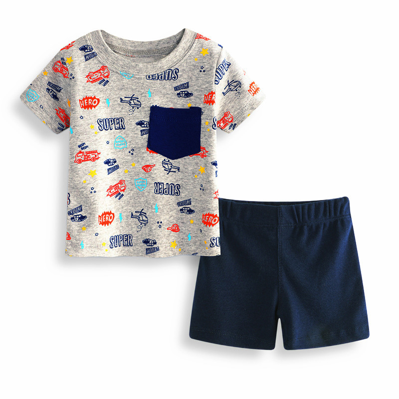 Brand Baby Boys Clothes Sets Helicopter Car T Shirts+Shorts 2 Pcs Suits for Boys Kids Cl ...