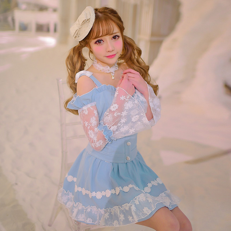 Princess sweet lolita shirt Candy rain original spring 2016 new  sweet dew leaf slim denim jacket shoulder charge C16AB6002