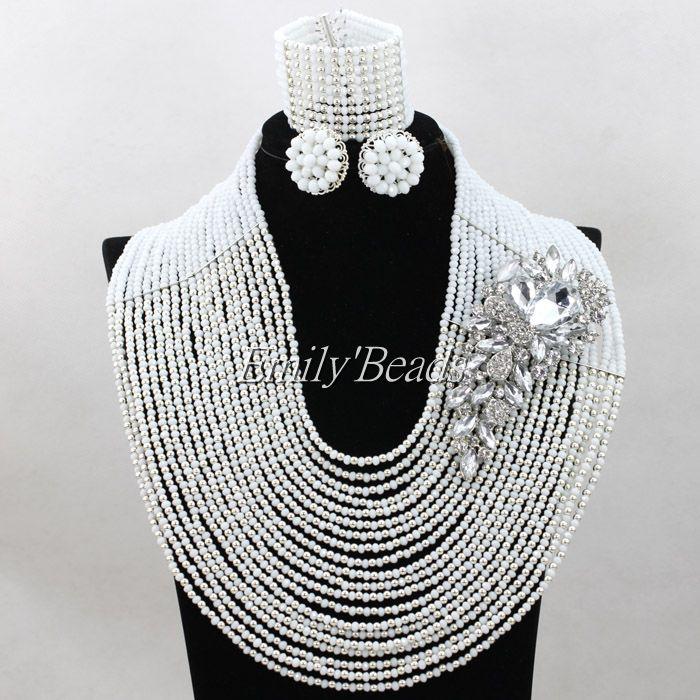 Fashion White Crystal Beads Necklace Nigerian Wedding Braid Jewelry Sets Women African Beads Jewelry Set Free Shipping ALJ041