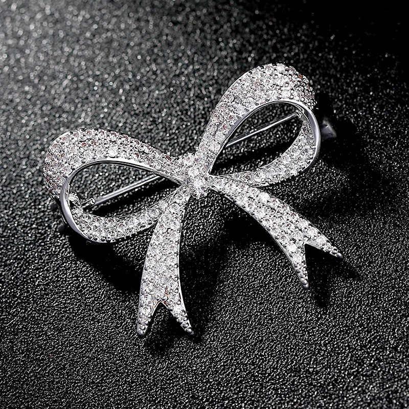 Luxury Rhinestone Wedding Bow Knot Brooch Pin Dress Sash Pins
