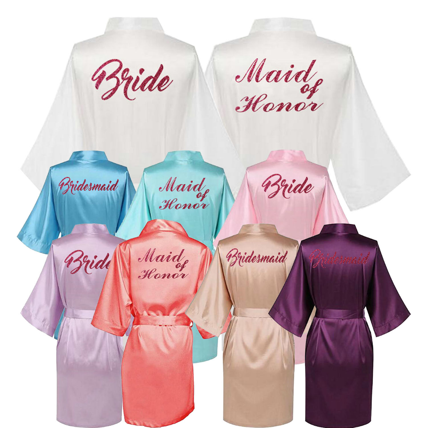 2019 Hot Women Summer Sexy Satin Silk Robes Gown Wedding Bride Kimono Lingerie Bridesmaid Bridal Silk Robes for Women Dress New in Robes from Underwear Sleepwears