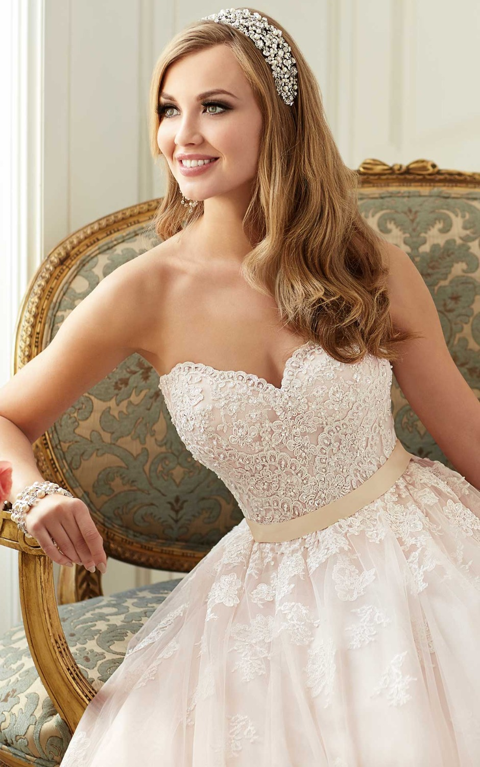 0e15e13f481 Princess Ball Gown Sweetheart Strapless Bridal Gown Romantic Lace Tulle  Light Pink Wedding Dress With Grosgrain Ribbon 2015-in Wedding Dresses from  Weddings ...