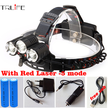 2017 4 LED 5 Mode LED Headlight +1x Red Lighting 10000 Lumen CREE XM-L T6 Head Lamp Headlamp +2x 18650 Battery +Car USB Charger