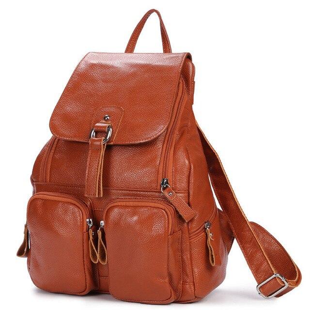Женский рюкзак из натуральной кожи с карманами 3