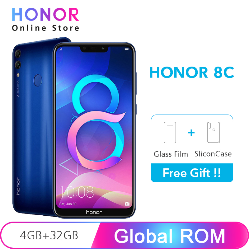 "Global ROM Honor 8C 4GB 32GB Smartphone 4000mAh Battery Snapdragon 632 Octa Core 13MP Dual Camera 6.26"" 1520x720 Screen"