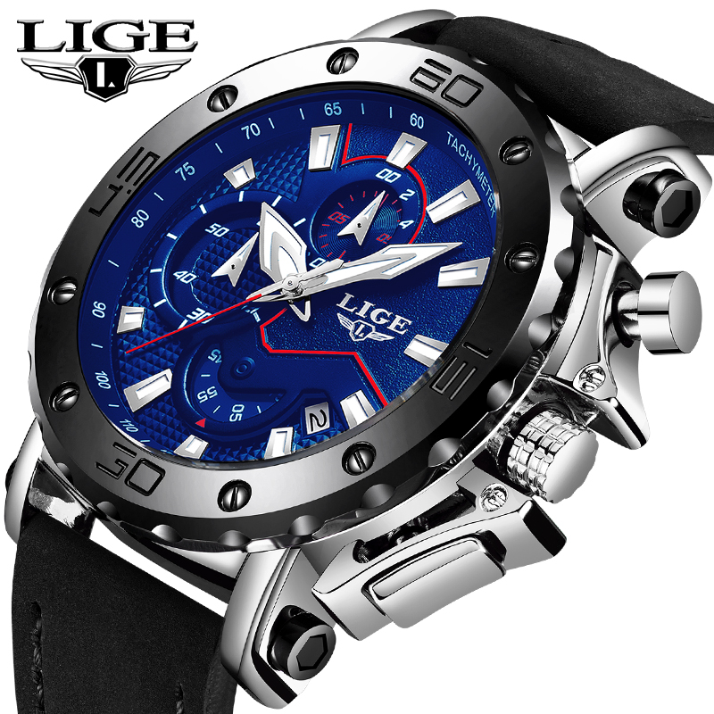 LIGE Top Brand Luxury  Mens Watches Military Sport Watch Leather Waterproof Wristwatch Men clock Man Date watch Relogio MasculinLIGE Top Brand Luxury  Mens Watches Military Sport Watch Leather Waterproof Wristwatch Men clock Man Date watch Relogio Masculin