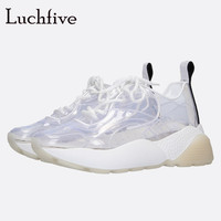 Transparent Wedges Casual Shoes Women Pointy Toe Candy Color Socks Shoes Lace Up Runaway Outwear Leisure White Shoes Woman