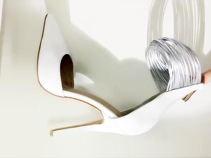 Femmes Cuir En Wrap Beige Blanc Cheville Designer Chaussures Mince Partie Talons Pointu Talon Bout Robe Arrivée Pompes Nouvelle Haut De FSqwgtw