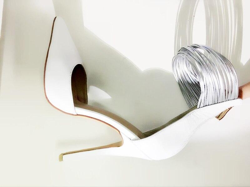 fbdba635710721 Nowy nabytek cienkie obcasy kobiety pompy pointed toe szpilki białe  skórzane buty projektant kobiety party dress buty kostki wrap obcasy