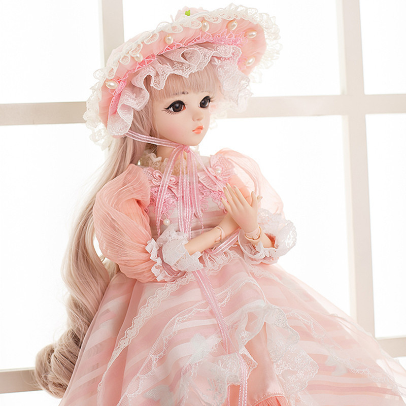 60cm BJD Dolls 1/3 Cute Princess SD Dolls with Pink Dress Wigs Shoes Hat Makeup Reborn Doll Christmas New Yeat Gift