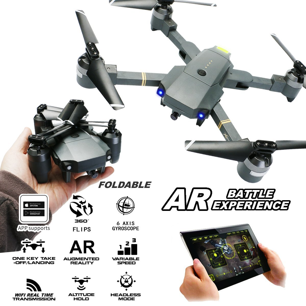 ATTOP XT-1 RC Drone Foldable Quadcopter 2.4Ghz 4CH WIFI FPV 1080P HD Camera w/ One Key Take Off & Land Altitude Hold RTF Gift Квадрокоптер