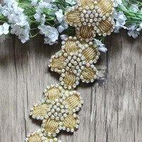 Free Shipping 1 yard Rhinestone Flower Chain Bridal Sash Rhinestone Trim Flower Applique Wedding DIY Accessories LSRT101