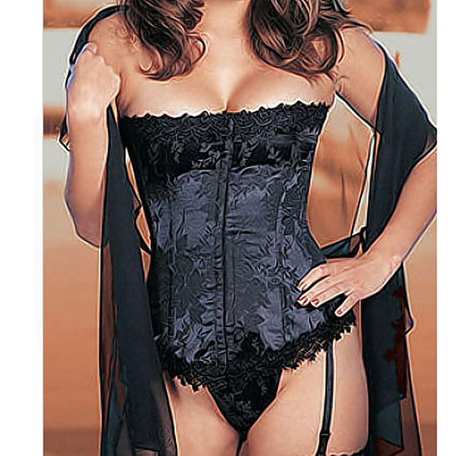 Plus Size S-6XL Woman Sexy Corset Flower Steel Bone Women Bustier Corset+G-string Embroider Satin Corset Top