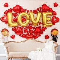 2017 الأزياء احباط بالونات حزمة shap عيد الحب الحمراء القلب سوبر رومانسية غرفة الزفاف الديكور حزب اللوازم