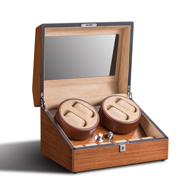 Watch Winder 4+6 wood skin luxury watches display box organizer rotate motor box case wrist watches cabinet lock leather velvet luxury automatic watch winder box 4 6 mechanical watch winder wood gloosy leather with lock exw drop shipping oem factory supply page 3
