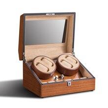 Заводчик для часов 4 + 6 дерево кожа люкс часы коробка дисплея Организатор повернуть двигателя коробка случай Наручные часы замок шкафа кожа бархат