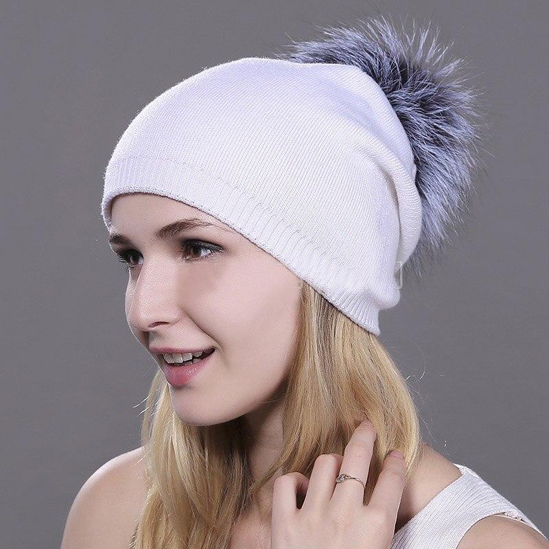HEE GRAND/женская шапка, зимние вязаные шапки унисекс из шерсти енота, шапки с перьями для мужчин, меховая шапка куполообразная, Прямая поставка PMT089 - Цвет: Color-8