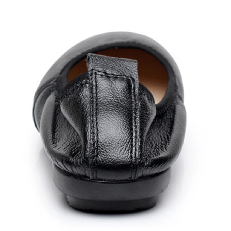 Cuir Travail Noir Casual Plat Et Rond Fond Nouveau slip De Chaussures Mou Printemps En Femmes Non 2018 Automne RFSZqa