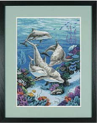 DIY The Dolphins Domain underwater 14ct counted cross stitch kits animals embroidery painting crafts children room decoration
