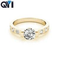 QYI серебряные кольца для женщин кубический камень цирконий 10 К желтого золота Свадебные обручальные кольца для женщин модные украшения жен
