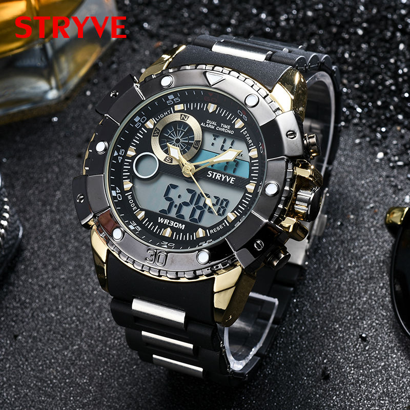 2018 Multifunction Sports Watches Stryve Brand Luxury Led Analog Clock Military Big Dial Dual Display Quartz Digital Men Watch weide watches men luxury sports lcd digital alarm military watch nylon strap big dial 3atm analog led display men s quartz watch