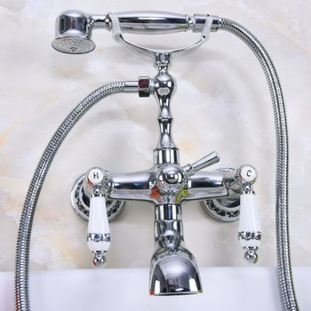 Polished Chrome Brass Double Ceramic Handles Wall Mounted Bathroom Clawfoot Bathtub Tub Faucet Mixer Tap w/Hand Shower ana206 wall mounted polished chrome round rain shower faucet tub mixer tap dual cross handles hand held shower head acy351