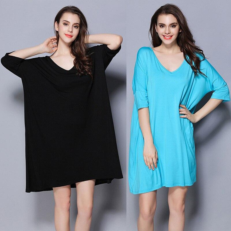 2019 Spring Summer Women Soft Modal Nightgowns Super Plus Size Sleepwear Half Sleeve Lady Nightwear Lady Nightshirt Black Blue
