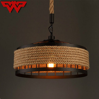Rural Pastoral creative restaurant Cafe personality wrought iron rope chandelier lamp Internet cafe bar loft hemp rope lamp