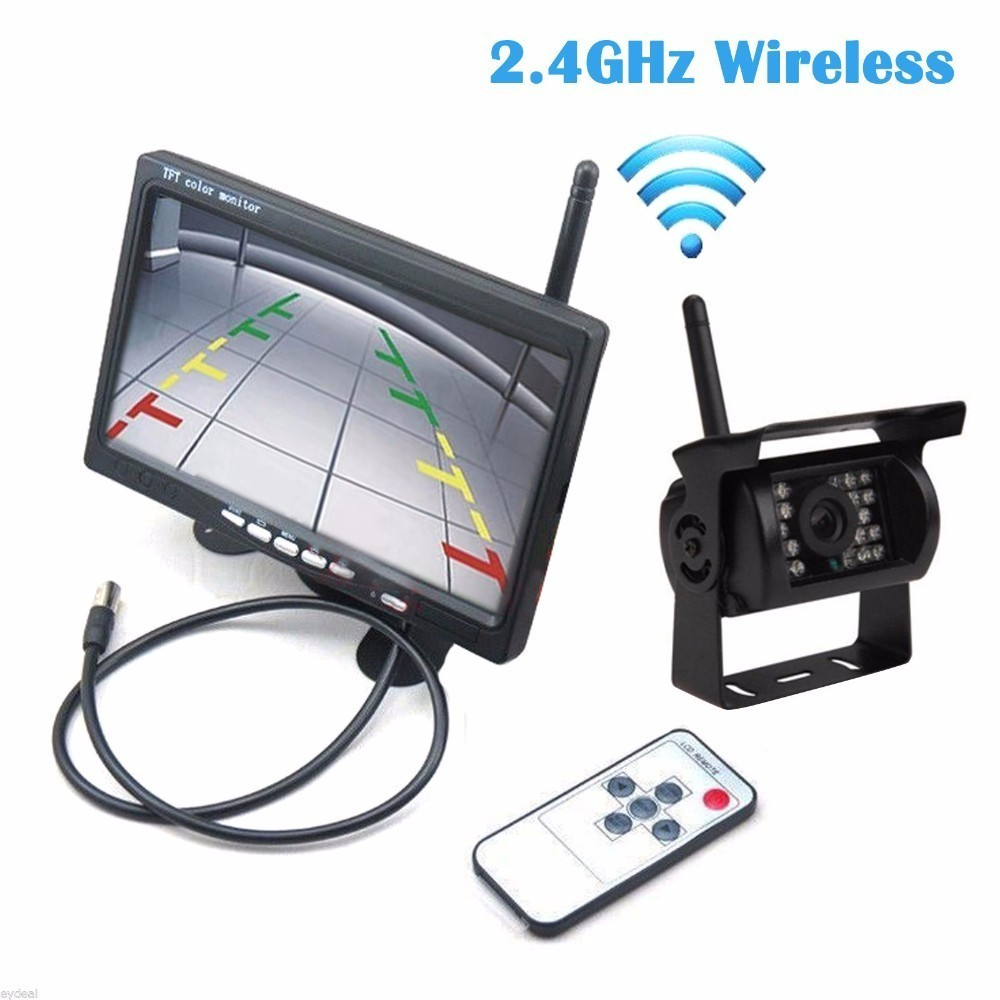 2.4G Wifi Wireless Car Backup Cameras IR Night Waterproof with 7 Car Rear View Monitor for RV Truck Bus Parking Assistance