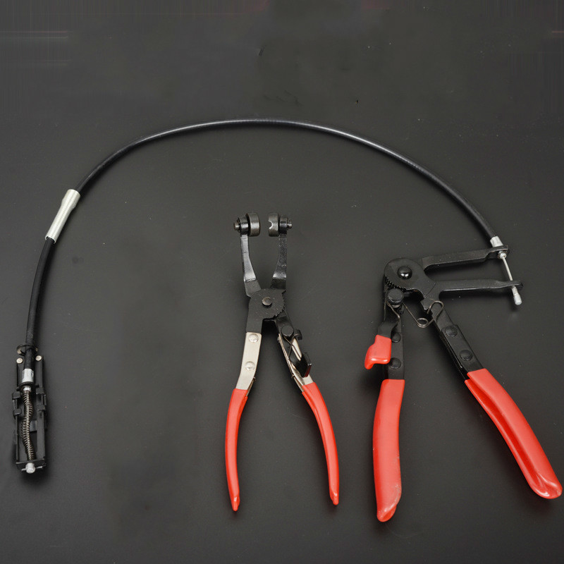 Cable Type Flexible Wire Long Reach Hose Clip Pliers+45 Degree Angle Bent Nose Hose Clamp Pliers Auto Vehicle Car Repairs Tools two way oil filter wrench tool with 3 jaw extra long engine valve stem seal removal pliers tool auto vehicle car repairs tools