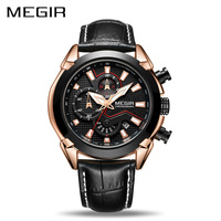 MEGIR Creative Quartz Men Watch Leather Chronograph Army Military Sport Watches Clock Men Relogio Masculino Reloj