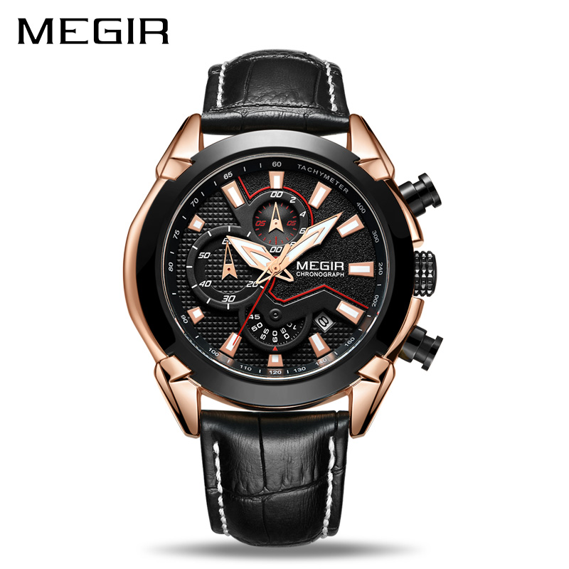 MEGIR Creative Quartz Men Watch Leather Chronograph Army Military Sport Watches Clock Men Relogio Masculino Reloj Hombre 2065
