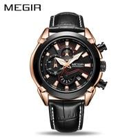 MEGIR Creative Quartz Men Watch Leather Chronograph Army Military Sport Watches Clock Men Relogio Masculino Reloj