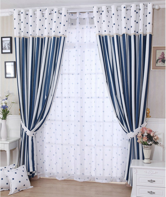 New Arrival Circles Striped Curtains For Living Room Kitchen Semi Blackout Curtain Tulle Window