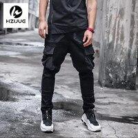 2017 Kieszenie Boczne Ripped Spodnie Dresowe Biegaczy Harem Pants Mężczyzna Hip Hop Patchwork Cargo Spodnie Męskie Mody Pełnej Długości Spodnie