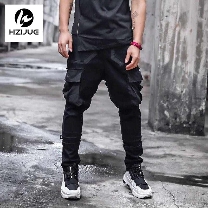 2017Side Pockets Harem Pants Mens Hip Hop Patchwork Cargo Ripped Sweatpants Joggers Trousers Male Fashion Full Length Pants high quality mens jeans ripped colorful printed demin pants slim fit straight casual classic hip hop trousers ripped streetwear