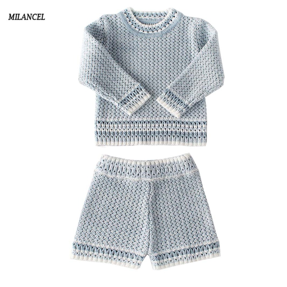 MILANCEL 2018 Baby Girls Clothes Newborn Clothes Knitted Baby Boys Clothes vetement enfant fille Sweater Tops Shorts Baby Set