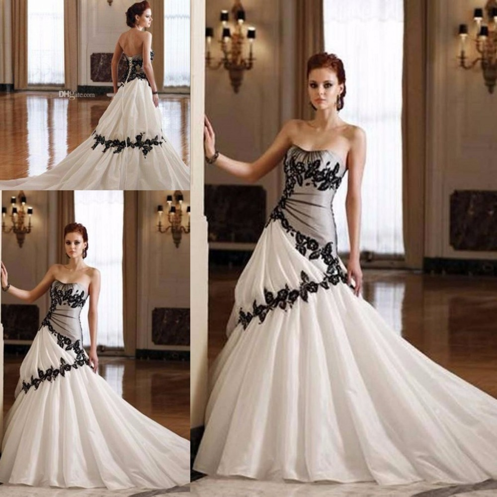 Charming Sweetheart Lace Wedding Dresses 2017 Black Lace